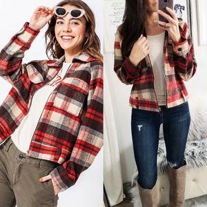 Jackets & Blazers - Plaid Flannel Pocket Jacket Red Brown Fall Jackets